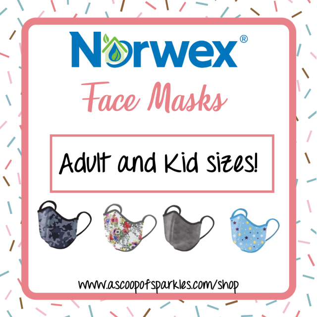 Norwex Face Masks available in adult and kid sizes and 4 print options.