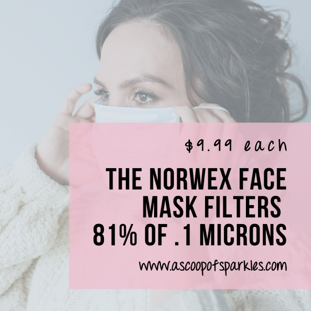 The Norwex Face Mask price is $9.99 USD. The Norwex Face Mask filters 81% of .1 microns.